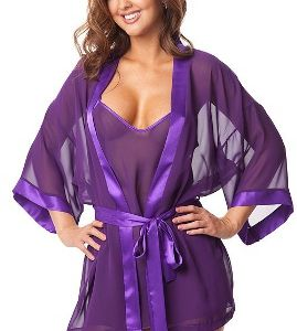 Purple 3-piece sleep set Features extremely soft and sexy mesh fabric with satin trim and sash.This nightwear has adjustable straps for better fit. Comes with matching g-string. This is a one size that truly will fit most shapes as the fabric is very stretchable. Visit: