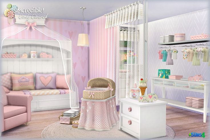 Candy Covered by SIMcredible! (donation) Sims 4 Bed mattress | Bed frame | Pillows | Toybox | Curtain | Armchair | Elephants | Dollhouse | Crib cover | Snail toy | Changing pad | Basket | Simple Shelf...