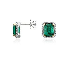Emerald and Diamond Halo Earrings in 18k White Gold  #bluenile