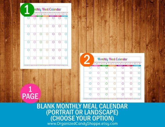 Organized Candy Shoppe Blank Monthly Meal Calendar Pdf Printable Meal Calendar Calendar Calendar Pdf