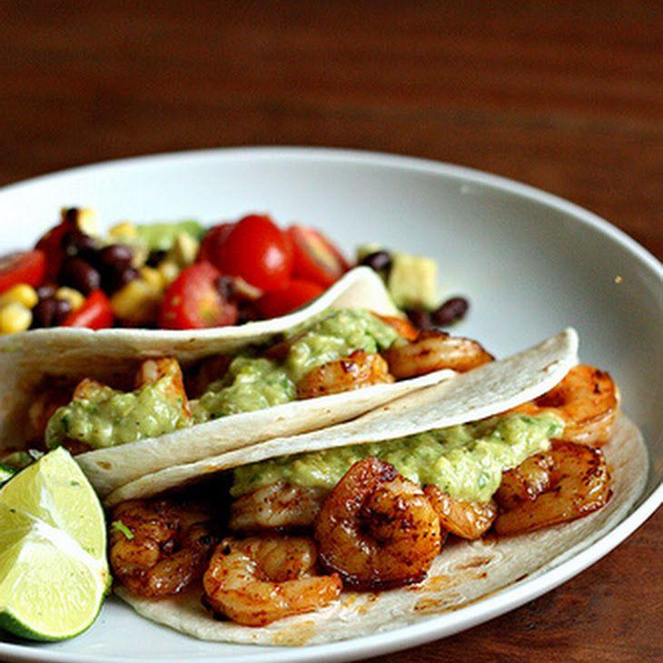 Shrimp Tacos with Avocado Salsa Verde Recipe Main Dishes with salsa verde, medium shrimp, olive oil, chili powder, corn tortillas, cilantro, lime wedges, onions, jalapeno chilies, garlic, tomatillos, hass avocado, cilantro, lime