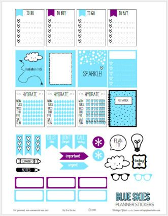 Blue Skies Planner Stickers   Free printable download suitable for Erin Condren planners or other vertical weekly planners.