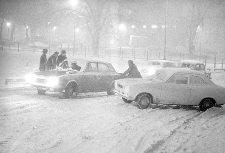 Snow chaos in Norwich's Rose Lane, on February 7, 1969, as the region was hit by severe blizzards.