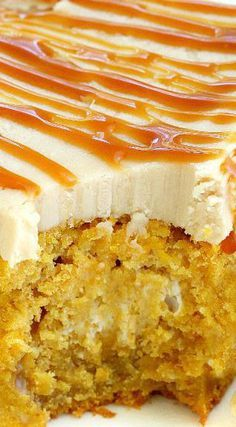 Pumpkin Poke Cake Recipe ~ Just as easy as a making it from a cake mix, this made-from-scratch pumpkin poke cake is soaked in condensed milk and topped with homemade caramel frosting!