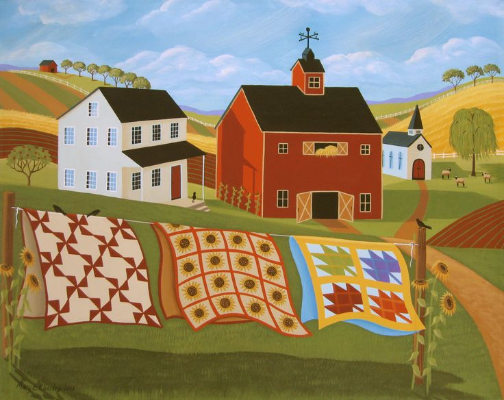 """16x20"""" ORIGINAL Folk Art Painting by Mary Charles """"Country Quilts"""" Now Available at dutchlandgalleries.com"""
