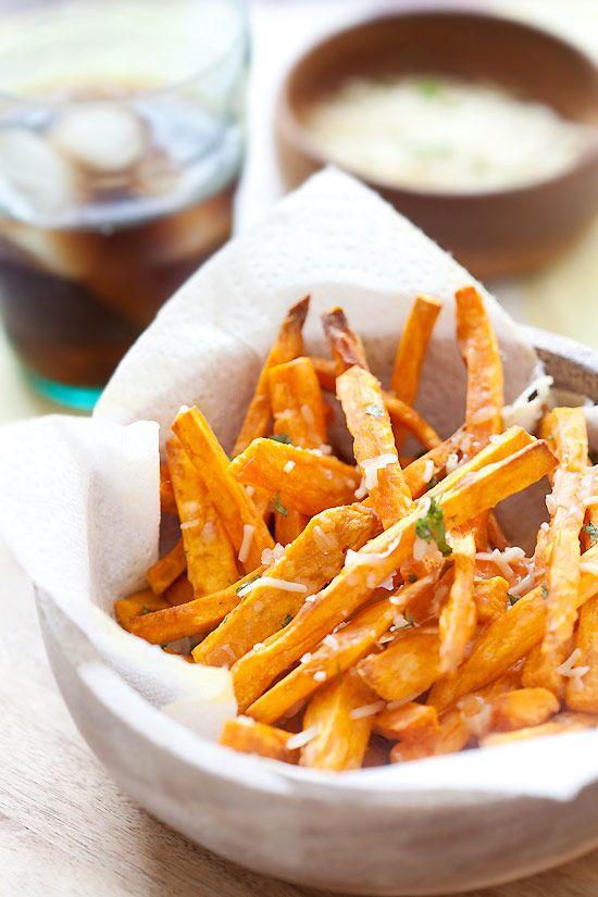 Parmesan Sweet Potato Fries - crispy and cheesy sweet potatoes and topped with Parmesan cheese, perfect side dish and so easy | rasamalaysia.com
