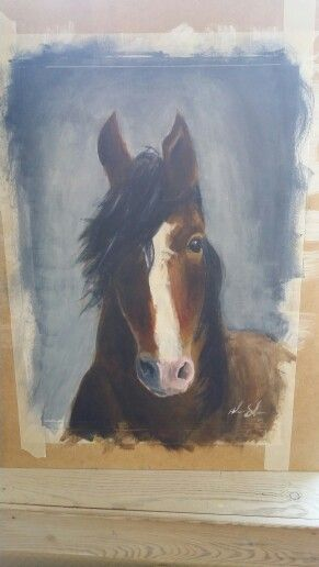 Acrylic on paper. Unknown horse