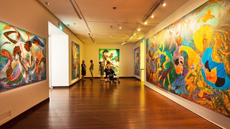 Exhibits at the Singapore Art Museum vary from paintings and sculptures to installation art and moving media.
