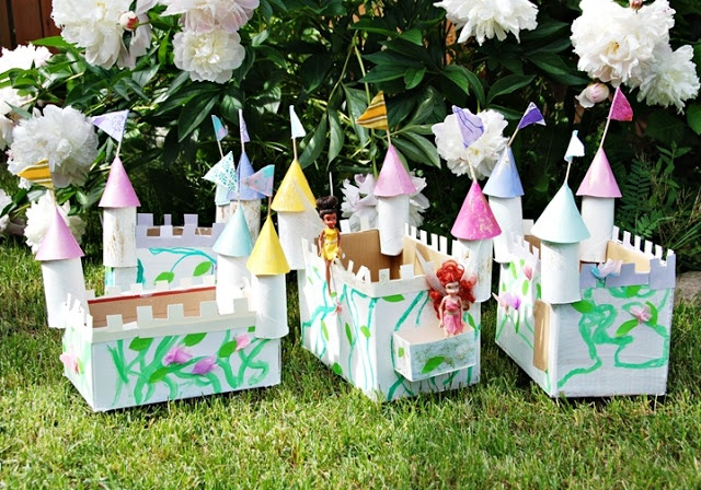 castles out of cardboard and toilet paper rolls