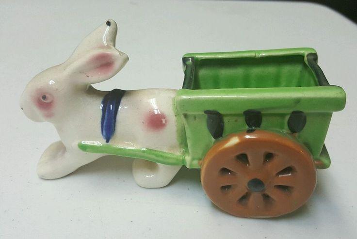 Vintage Ceramic Easter Bunny Rabbit pulling Cart Planter/Candy Dish Japan
