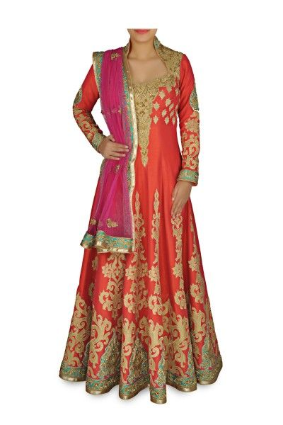 anarkali suit red with golden thread work