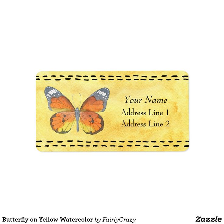 Orange Butterfly on Yellow Watercolor Background Address Sticker - personalize with your name and address #monarch