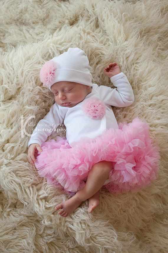Newborn Girls Take Home Outfit White Bodysuit with Rosette Poof Hat or Headband and Pettiskirt