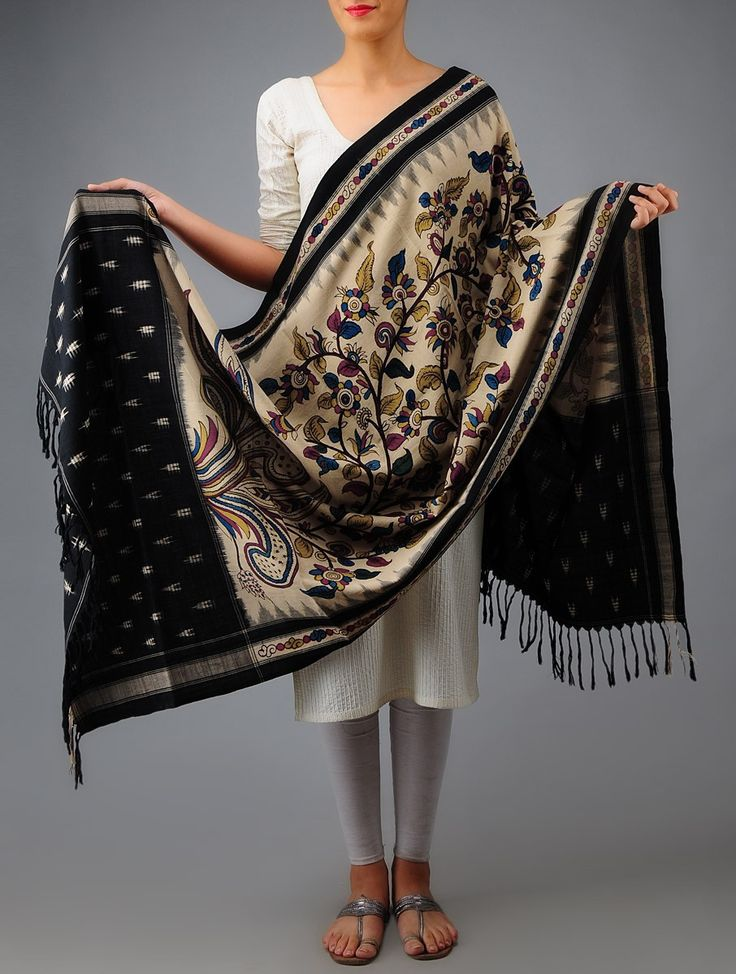 Kalamkari Ikat Cotton Dupatta - Buy Accessories > Dupattas > Kalamkari Ikat Cotton Dupatta Online at Jaypore.com