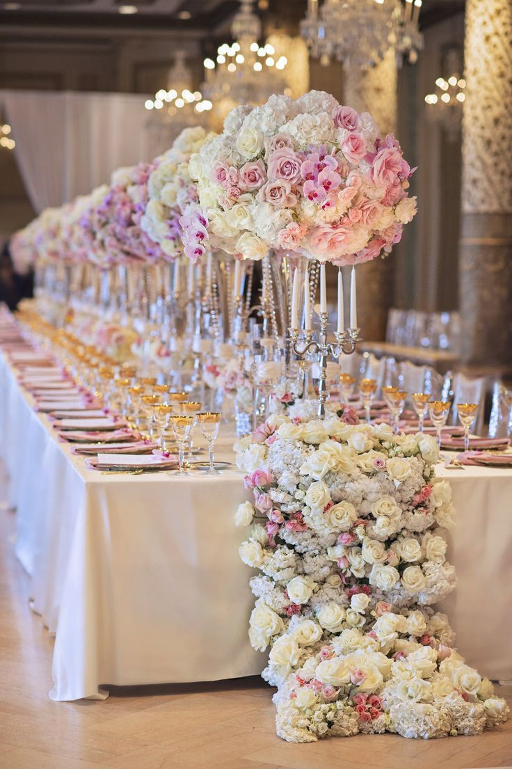 Best 25 long wedding tables ideas on pinterest long for Floral table decorations for weddings