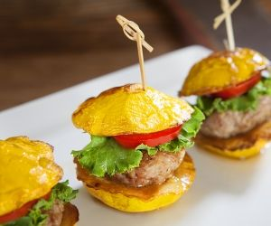 Here's a healthier, no-carb version of an all-time American favorite! Instead of a bun, these sliders use sunburst squash making for a beautiful and tasty way to enjoy mini burgers without any guilt. Plus, they're pretty adorable. Check out our recipe for these delicious Sunburst Turkey Sliders.