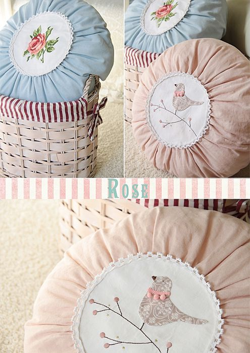 So sweet. Shabby Chic Pink, Blue Pillows. *** Repinned from    Lili Hernandez ***.