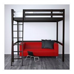 IKEA - STORÅ, Loft bed frame, black, , You can use the space under the bed for storage, a work space or seating.The ladder can mount on the left or right side of the bed.Made of solid wood, which is a durable and warm natural material.