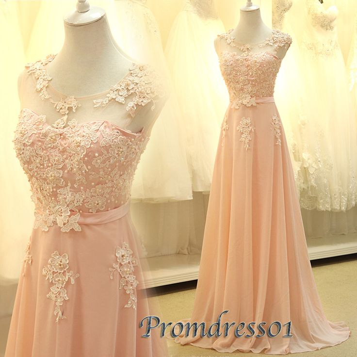 2015 elegant new design pink slim round neck  lace chiffon long prom dress for teens, ball gown, evening dress, prom gown,bridesmaid dress #promdress #wedding