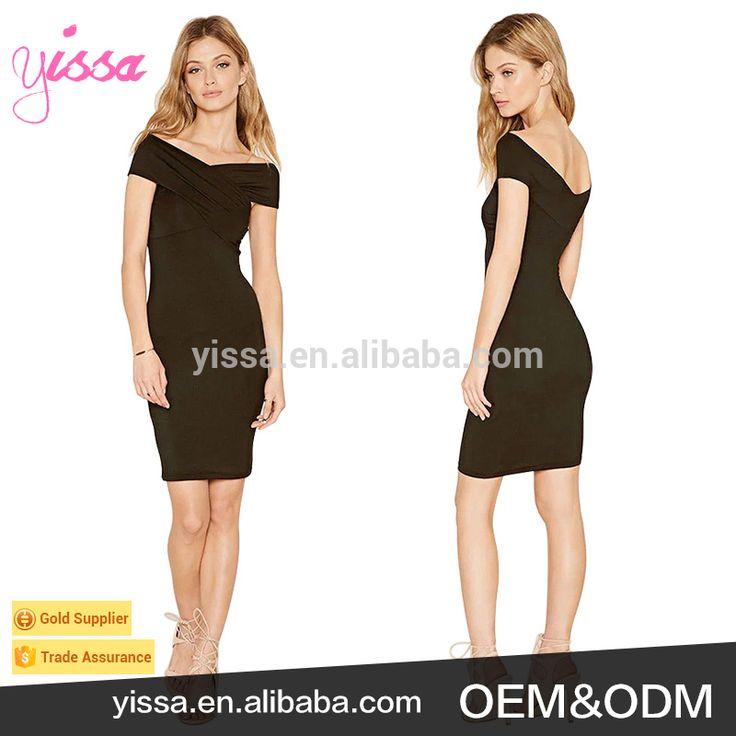 Yissa 2017 New Style Elegant Black Off Shoulder V Neckline Bodycon Dresses Pictures Office Dress for Ladies