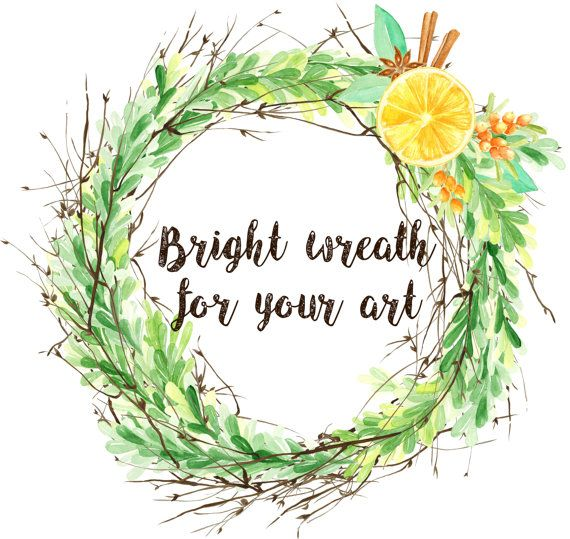 Watercolor Decorative Wreath by FancyWatercolor on Etsy
