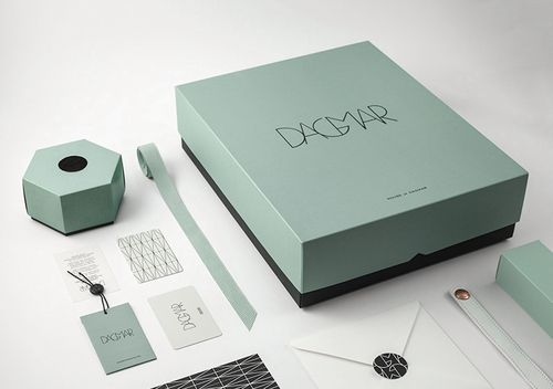 House of Dagmar via @Matty Chuah Dieline / Swedish Fashion Brand / logo / identity / branding by BrittonBritton / luxury / mint / sage / minimalistic / box / packaging / business card /  hang tags