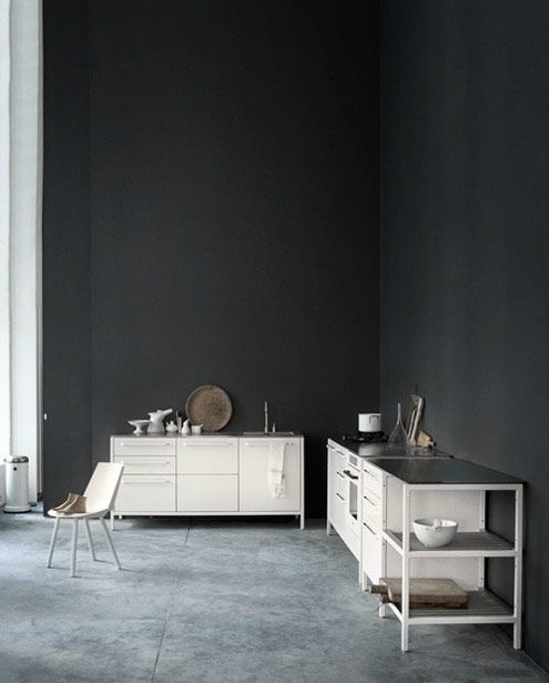 Heidi Lerkenfeldt: Wall Colour, Vipp Kitchens, Loft Kitchens, Black Kitchens, Concrete Floors, Dark Wall, Black Wall, Paintings Colour, Charcoal Wall