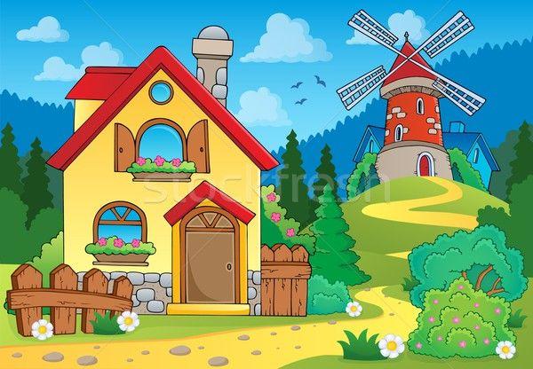 Stockfoto: Voorjaar · huis · windmolen · venster · kunst · architectuur
