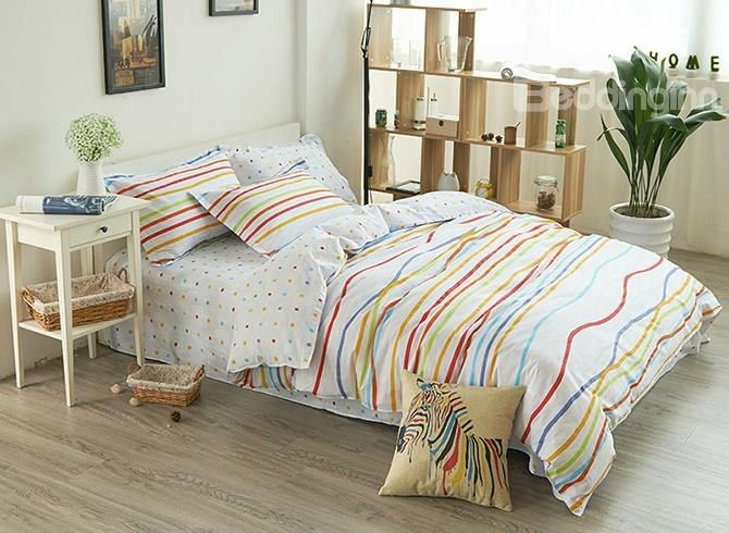 Colorful Reversible Polka Dot And Stripe Pure Cotton 4 Piece Bedding Sets