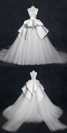 A line tulle wedding dresses