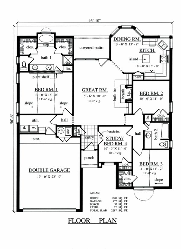 Traditional Style House Plan 4 Beds 2 Baths 1701 Sq Ft Plan 42 351 Beach House Floor Plans Floor Plan 4 Bedroom Beach House Flooring Traditional style house plan