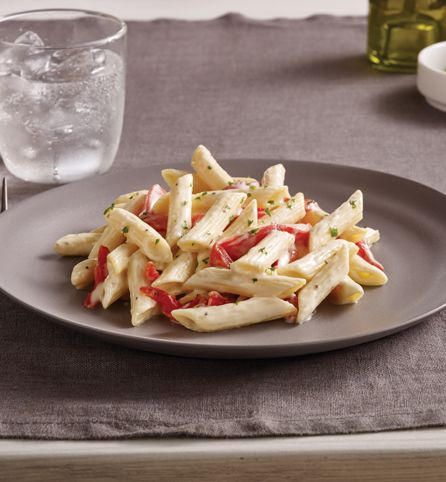 Penne Alfredo with Roasted Peppers and Parmigiano-Reggiano