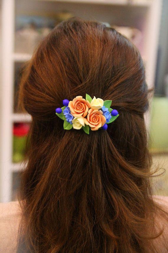 Flower hair clip handmade flowers jewelry floral by ShopotShop