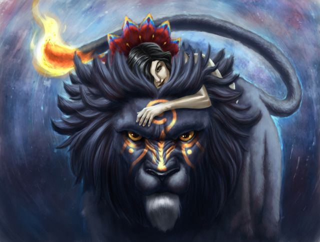 Guardian Picture 2d Fantasy Girl Lion Animal