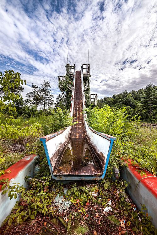 """""""Ride to Ruin"""" - An old overgrown water slide at an abandoned amusement park in Arkansas.  Prints available on my website."""