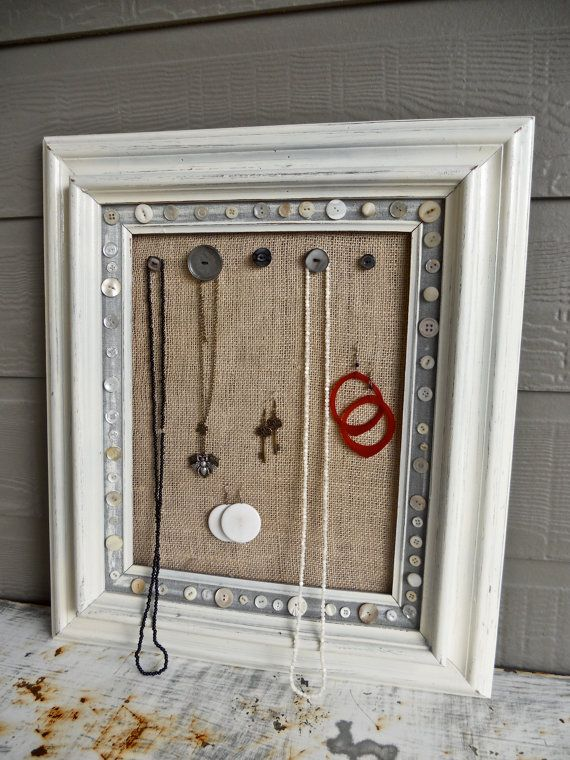 I don't like this frame but I like the button idea to hang necklaces.