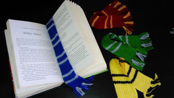 Harry Potter hand-knitted Ravenclaw House bookmark scarf!
