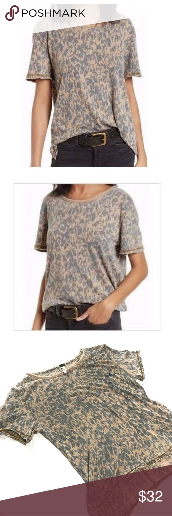 We the Free Cheetah Print T-shirt We the Free Cheetah Print Shirt Size XS -Tan -Cheetah print: in shades of blue  -Intentional faded look  -Loose fit  -50% Cotton 50% Polyester -Flat lay chest: 17'' -Length: approx 17'' Free People Tops Tees - Short Sleeve