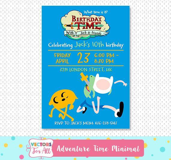 Adventure Time Minimal Invitation, Adventure Time Minimal Party, Adventure Time Minimal Invite, Adventure Time Minimal Birthday by VectorsForAll on Etsy