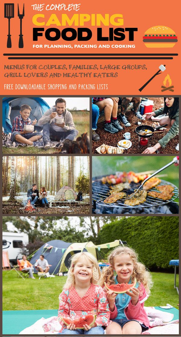 Making a camping menu for your big group doesn't get any easier.  http://www.beyondthetent.com/the-complete-camping-food-list-for-planning-packing-and-cooking/?utm_campaign=coschedule&utm_source=pinterest&utm_medium=Beyond%20the%20Tent&utm_content=The%20Complete%20Camping%20Food%20List%20for%20Planning%2C%20Packing%20and%20Cooking