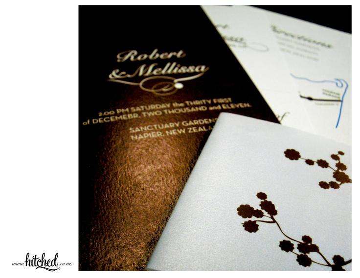 www.hitched.co.nz - organic patterns and lush chocolate metallic.
