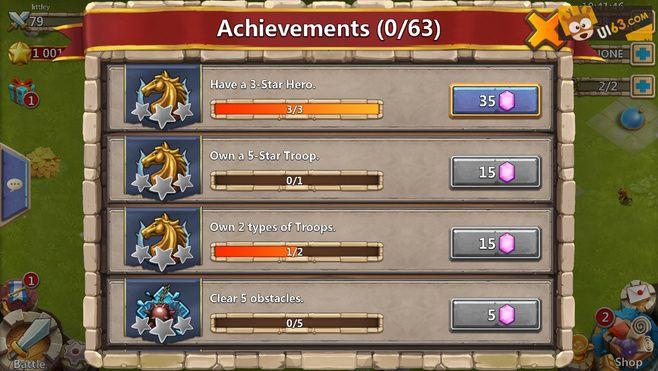 "Mobile Game ""castle clash"" UI ..."