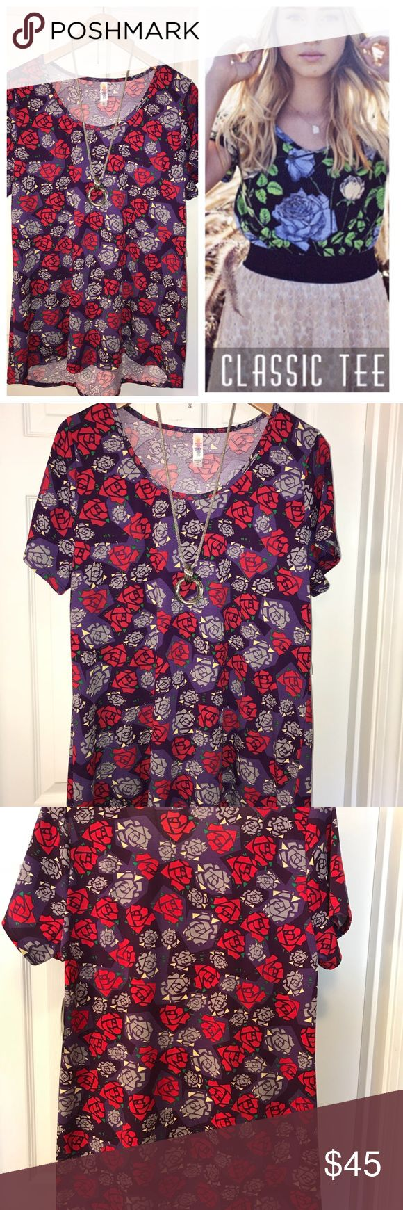 LuLaRoe XL Disney Roses Classic T 🦄 🌹 If you've spent any amount of time in my closet, you know I'm a HUGE floral/rose print fan. This XL Classic T does not disappoint! How gorgeous is this Disney Rose print?! I'm obsessed! AND it features my absolute favorite color, purple! Both dark and light shades of purple, vibrant red, green and hints of white accents. Perfect to be paired with favorite solid leggings (I have an awesome pair of TC Sky Blue Available!) or your favorite pair of jeans…