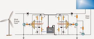 két bemeneti napszél hibrid akkumulátor töltő áramkört