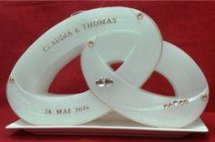 Candle & Rings - Hochzeitskerzen zwei Ringe mit Teelichteinsatz- Verzierung rosegold