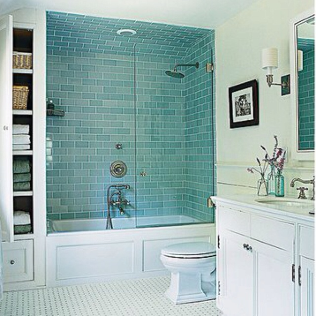 Glass Subway Tile In Sea Green. So Nice! Love The Shower Doors Too!
