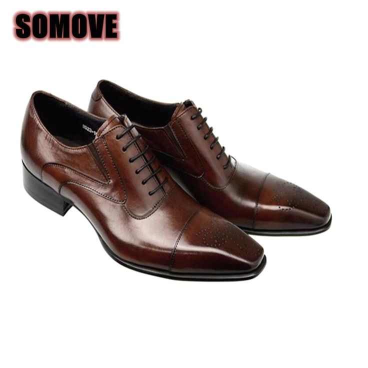 Fashion Italian Men Shoes Genuine Leather Mens Dress Shoes Sales Carved Designer Wedding Male Oxford Shoes Men Flats 37-46