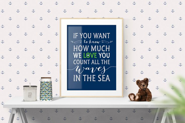 Nursery Art Print Decor, If you want to know how much we love, Navy White, 8 x 10 and 16 x 20, Inspirational Motivational Wall Art | #159 by WisdomWallArt on Etsy