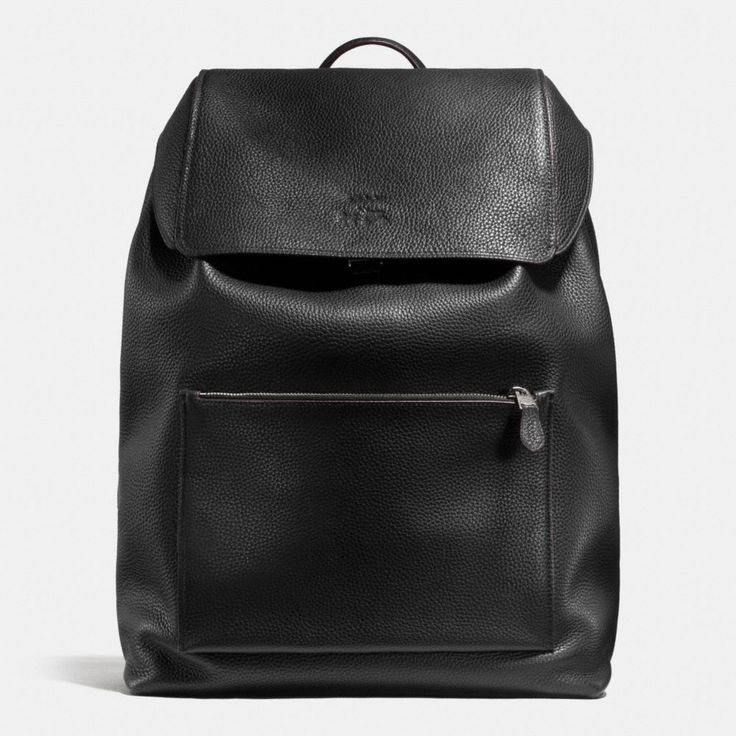 The new Manhattan Backpack in luxe pebble leather combines urban sophistication with the spirit of the open road. Pop-color hand edge painting is a nod to Coach heritage; an exposed zipper gives the design a tough moto edge.