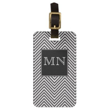 Black and White Abstract Chevron Pattern Monogram Bag Tag - pattern sample design template diy cyo customize